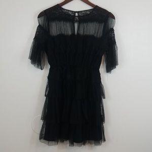 Zara Black Mesh Floral Embroidery Mini Dress